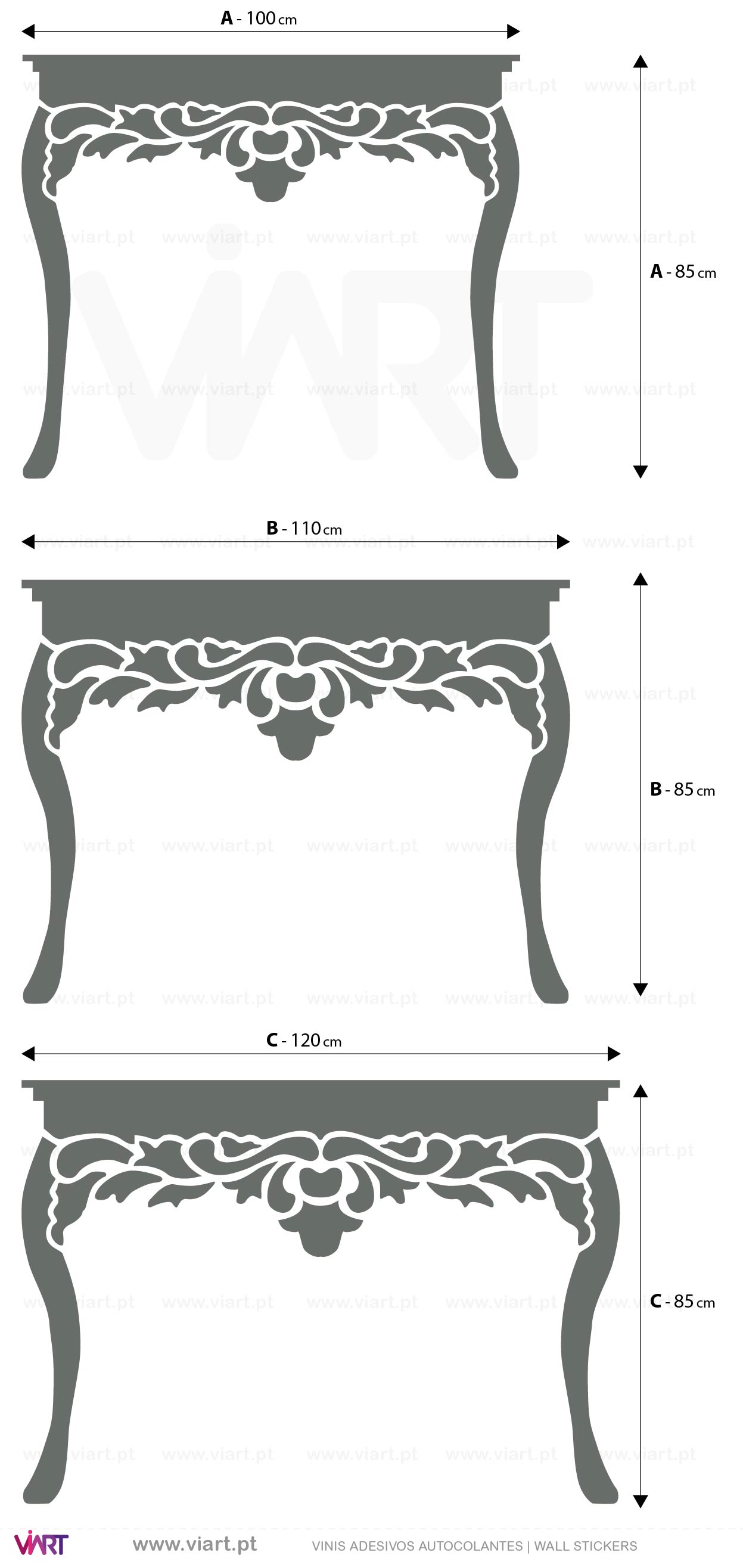 Viart - WALL STICKERS - Console Tables | Hall Table! Decal Measures