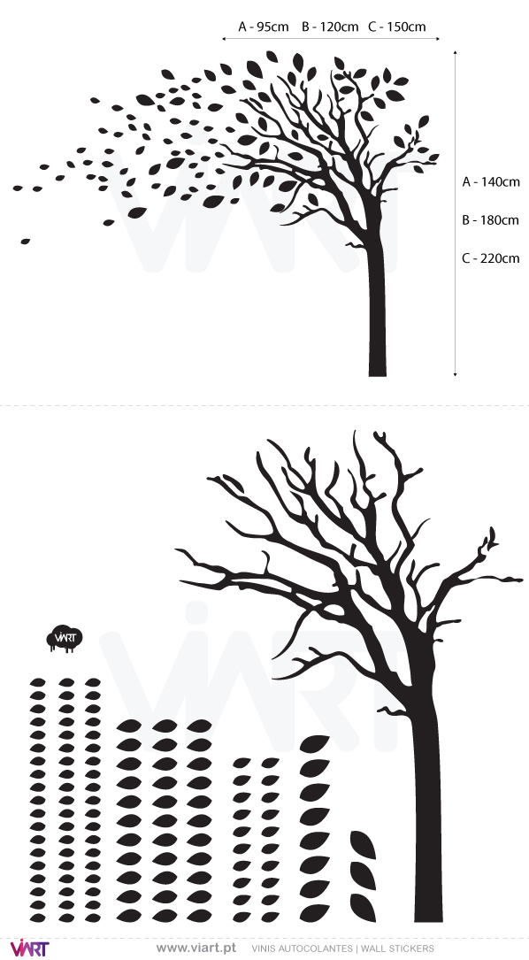 Viart Wall Stickers - Tree with leaves - measures