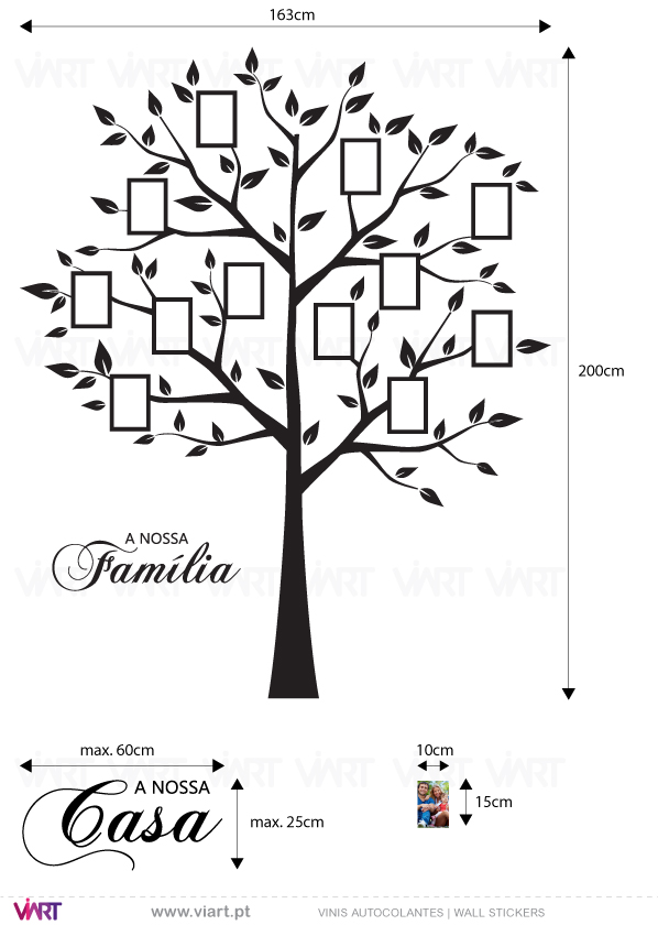 Viart Wall Stickers - Family tree for pictures! - measures