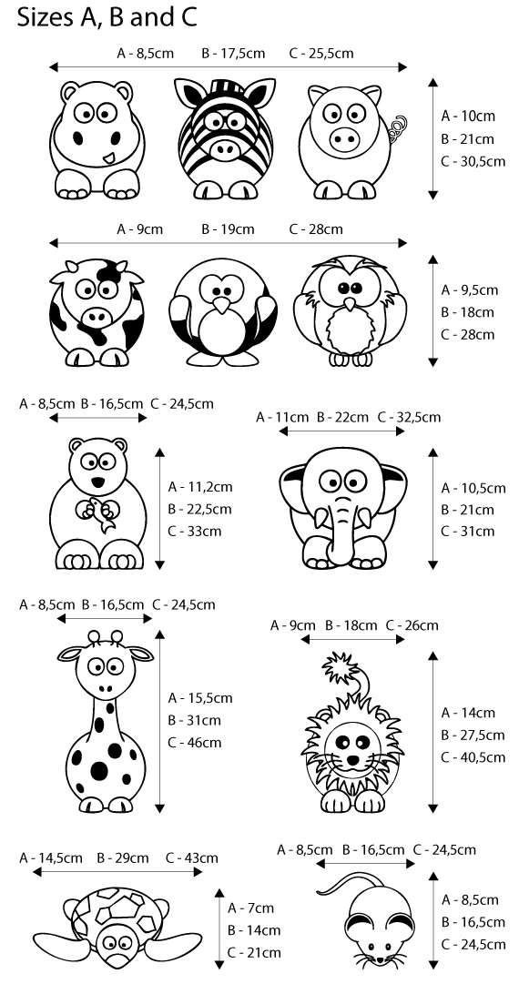 Viart Wall Stickers - Set of 9 animals - measures