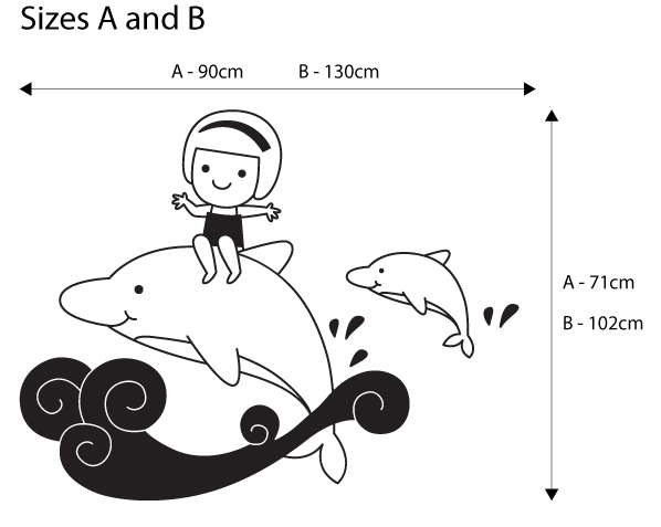 Viart Wall Stickers - Girl with dolphins! - measures