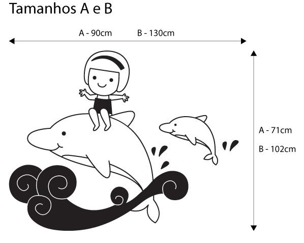 Viart Vinis autocolantes decorativos - Menina com golfinhos! - medidas