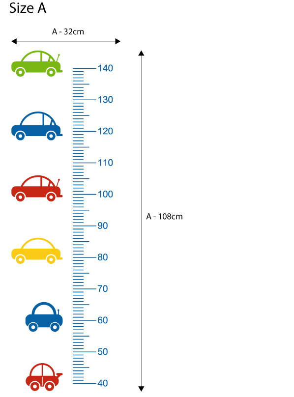 "Viart Wall Stickers - Growth Ruler ""Cars"" - measures"