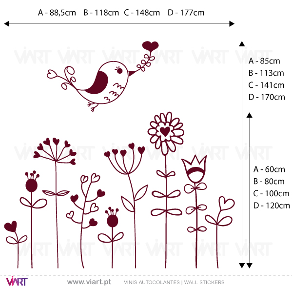 Viart Wall Stickers - Flowers with bird - measures
