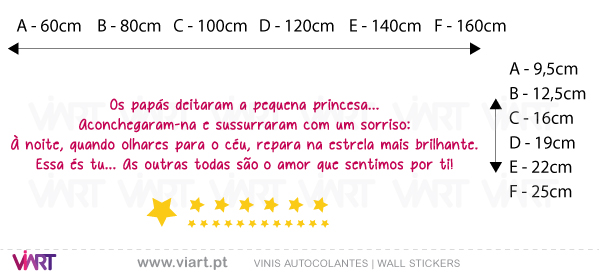 Viart Wall Stickers - Os papás e a pequena princesa! - measures