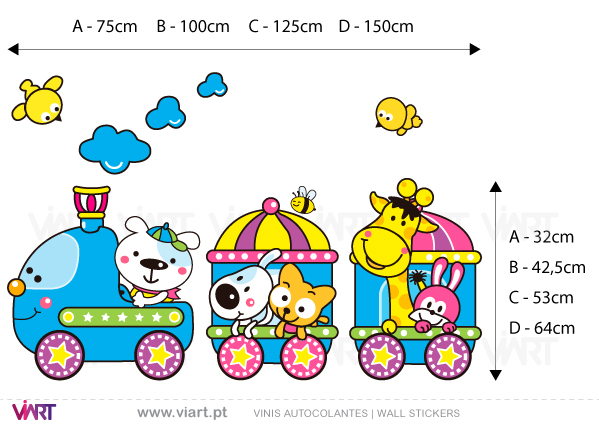Viart Wall Stickers - Train in the zoo! - measures