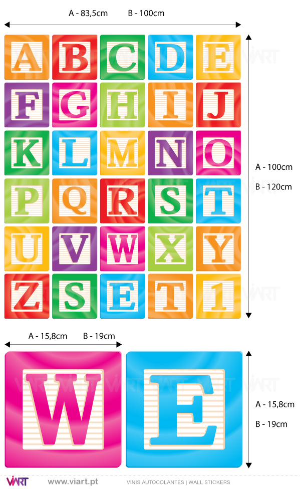 Viart Wall Stickers - A B C squares - measures