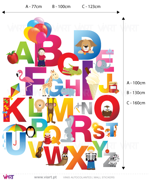 Viart Wall Stickers - ABCDEF...:) - measures