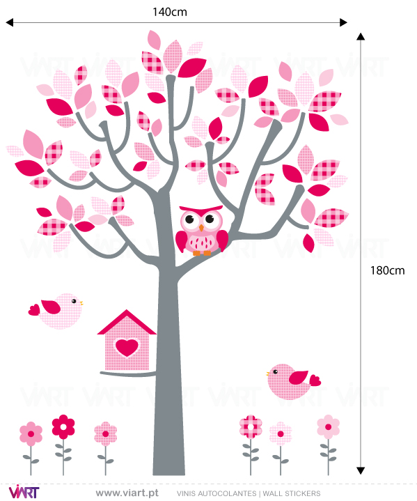 Viart Wall Stickers - Baby Pink Fantasy - tree, owl, birds and flowers - measures
