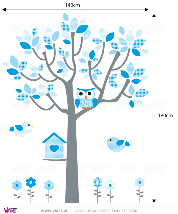 Viart Wall Stickers - Baby Blue Fantasy - tree, owl, birds and flowers - measures