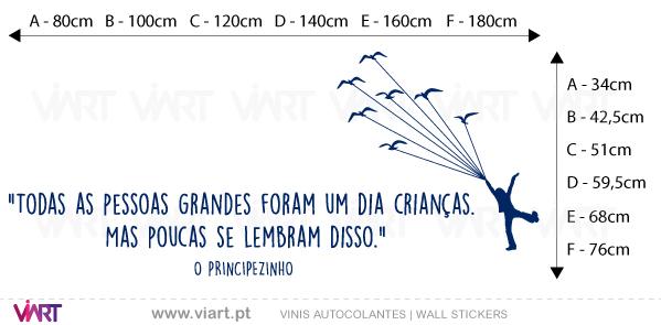 """Viart Wall Stickers - """"TODAS AS PESSOAS GRANDES..."""" Saint-Exupéry - measures"""