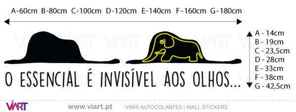 Viart - Vinis autocolantes decorativos - O essencial é invisível aos olhos... O Principezinho - Saint-exupery - medidas