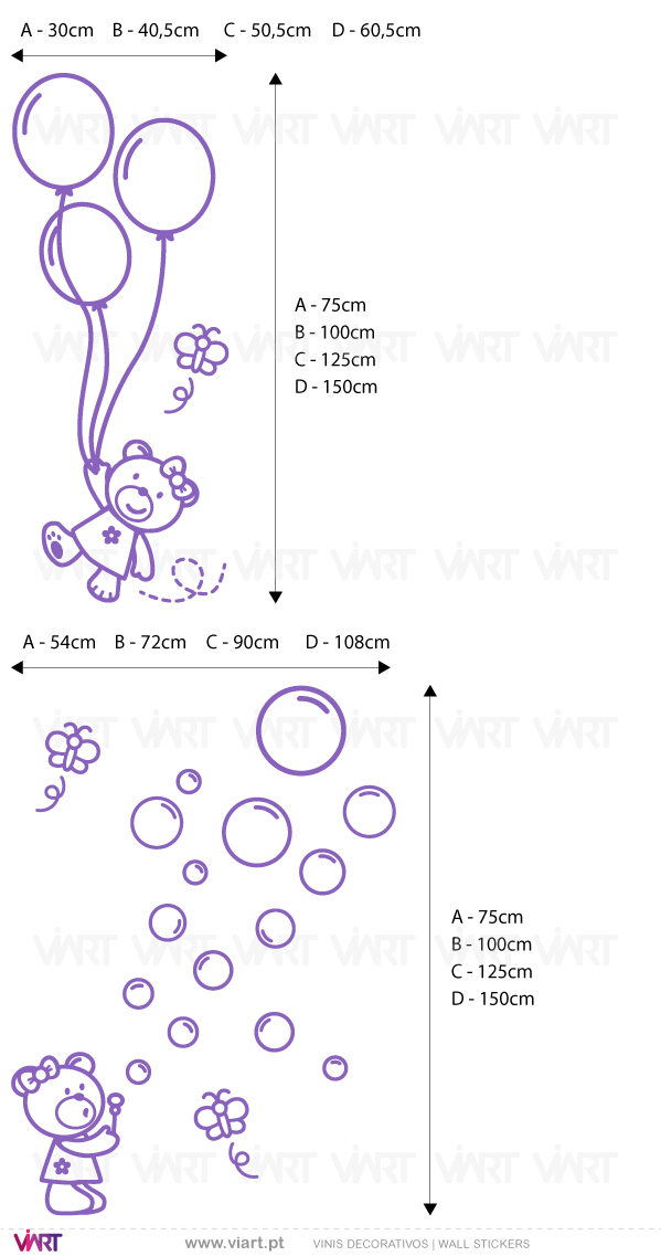 Viart Wall Stickers - 2 Teddy bears with soap bubbles, butterflies and balloons! - measures