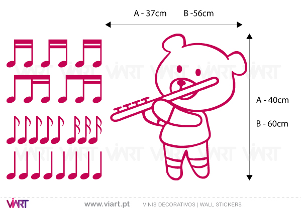 Viart Wall Stickers - Musical Teddy Bear! - measures