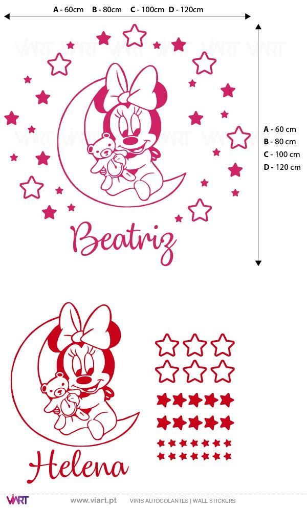Viart - Vinis autocolantes decorativos - Baby Minnie com nome! Medidas