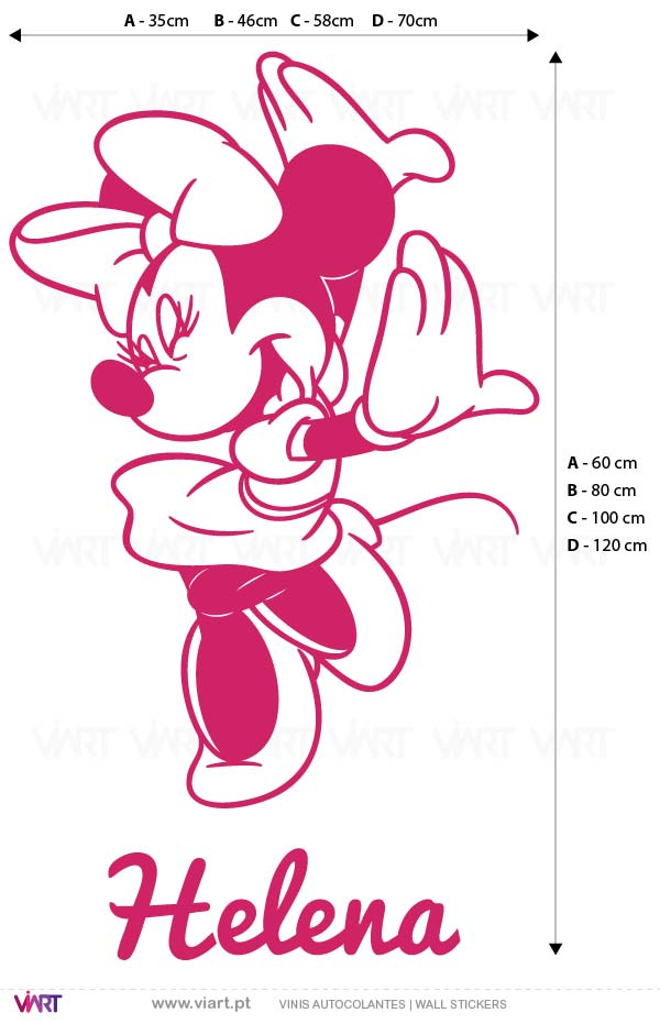 Viart - Vinis autocolantes decorativos - Minnie com nome! Medidas
