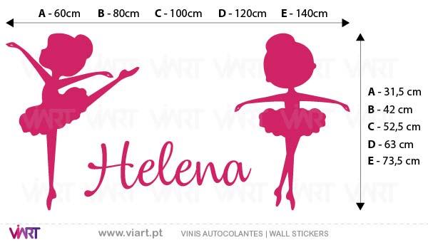 """Viart - Vinis autocolantes decorativos - """"Bailarinas Lindas"""" com nome personalizável! Medidas"""
