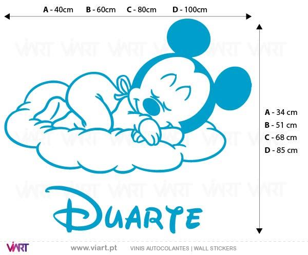 Viart - Vinis autocolantes decorativos - Bebé Mickey com nome! Medidas