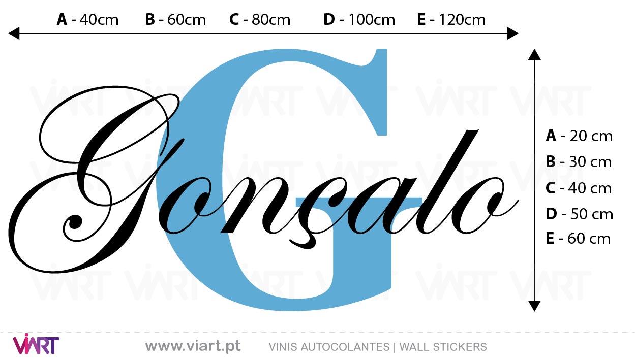 Viart - Vinis autocolantes decorativos - Nome de Menino Elegante e Personalizável! Medidas