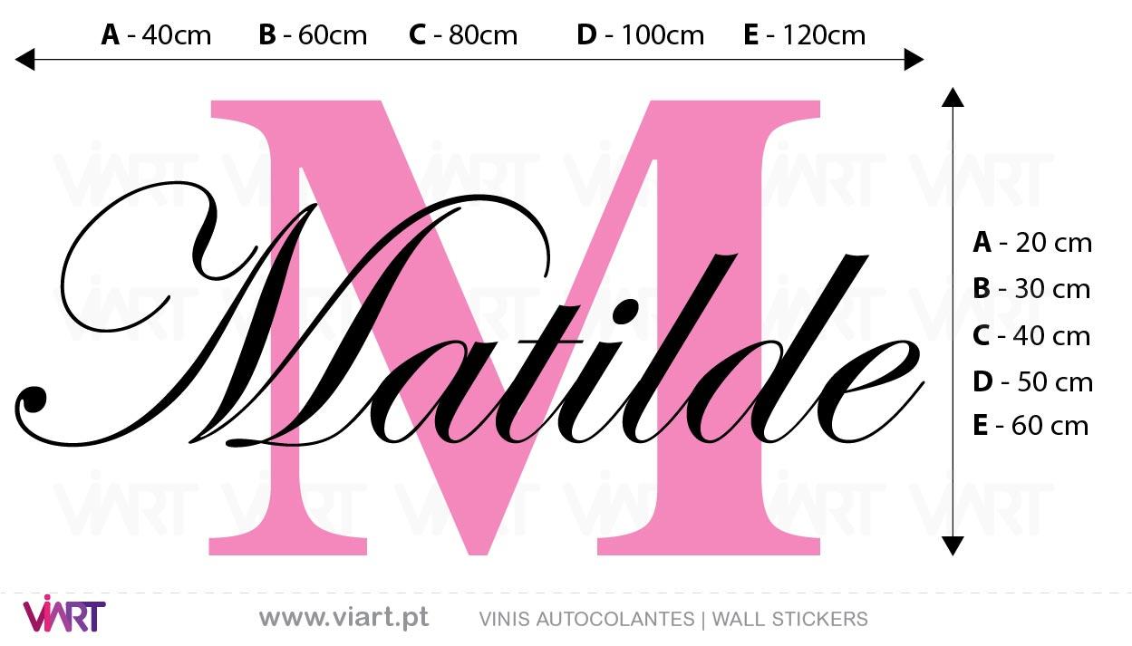 Viart - Vinis autocolantes decorativos - Nome de Menina Elegante e Personalizável! Medidas
