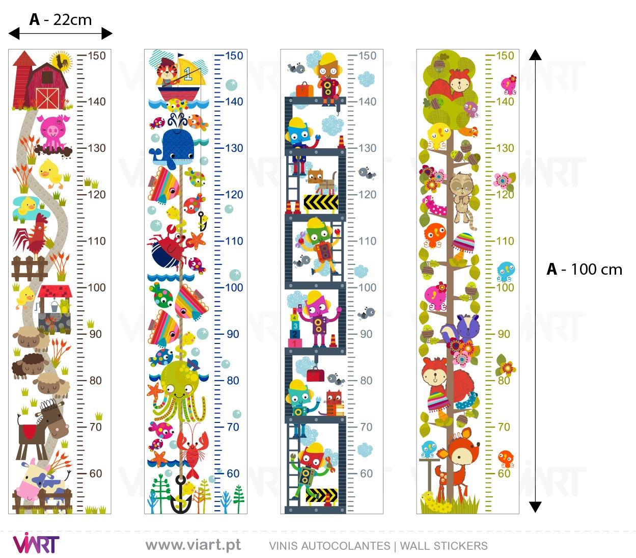 Viart - Vinis autocolantes decorativos - Réguas do Crescimento Fantasia! Medidas