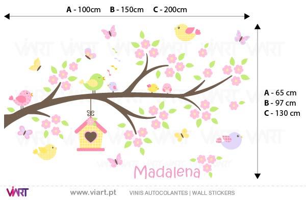 Viart - Vinis autocolantes decorativos - Encantador ramo de flores com nome! Medidas