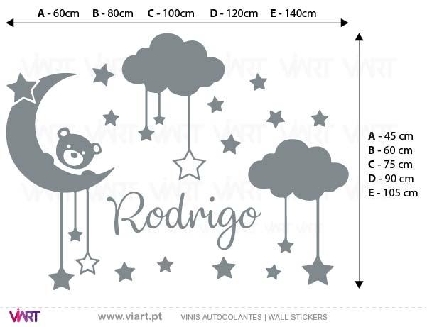 Viart - Vinis autocolantes decorativos - Bebé nas estrelas com nuvens! Personalize o nome! Medidas