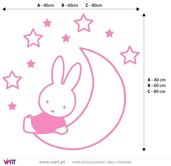 Viart - Vinis autocolantes decorativos - Bonequinha Miffy nas Estrelas! Medidas
