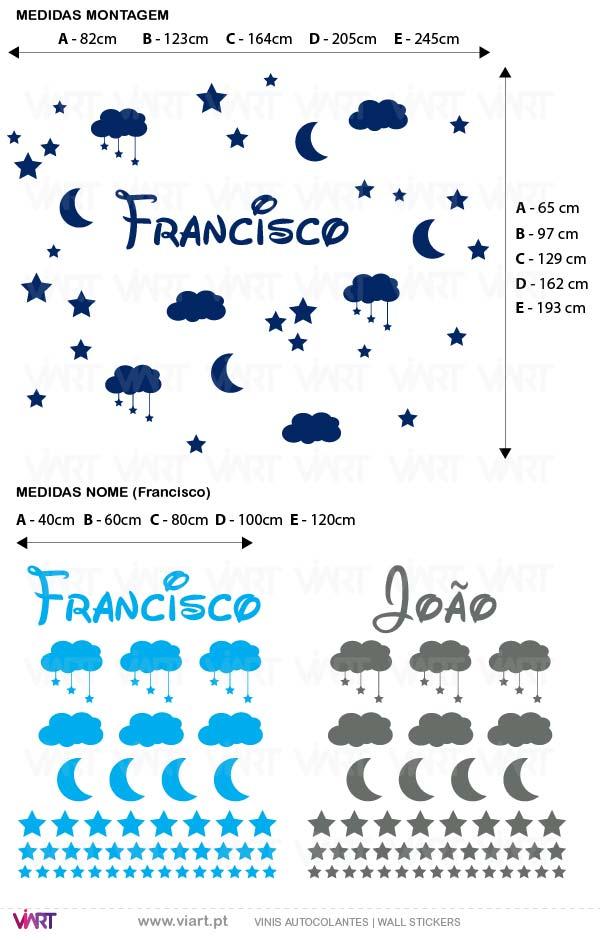 Viart - Vinis autocolantes decorativos - Nome nas estrelas com nuvens! Personalize o nome! Medidas