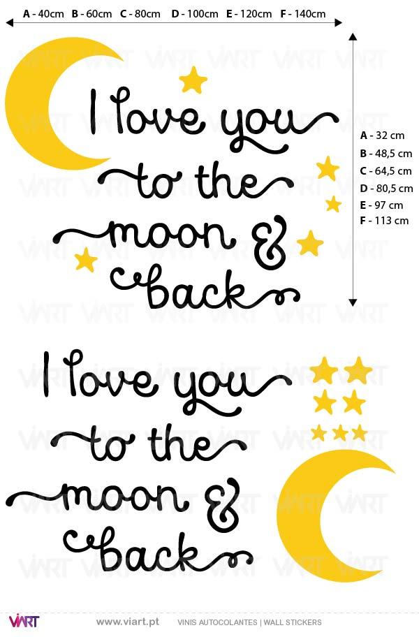 Viart - Vinis autocolantes decorativos - I love you to the moon and back! Medidas