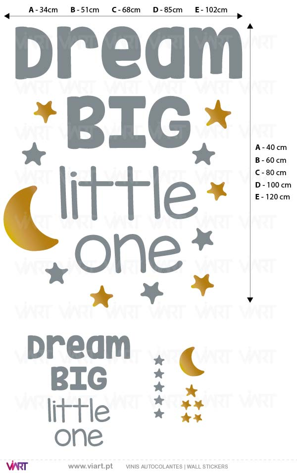 Viart - Vinis autocolantes decorativos - DREAM BIG little one! With Moon and Stars! Medidas
