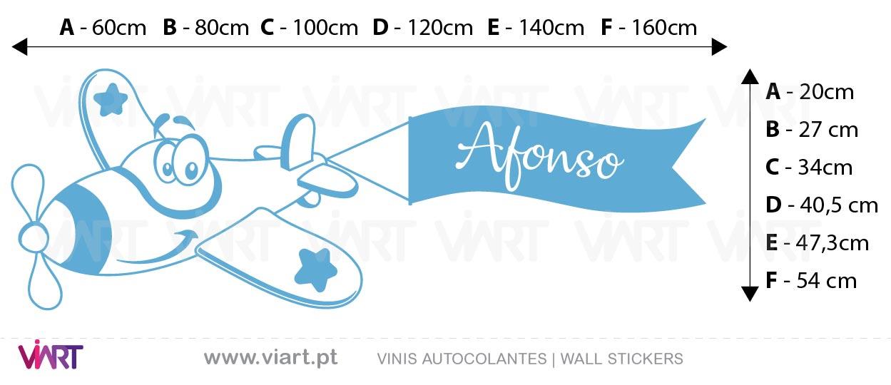 Viart - Vinis autocolantes decorativos - Avião com nome personalizado! Personalize o nome! Medidas