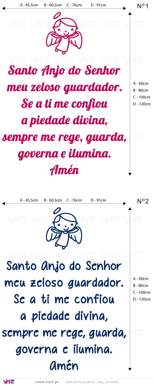 Viart - Vinis autocolantes decorativos - Oração Santo Anjo do Senhor... - medidas