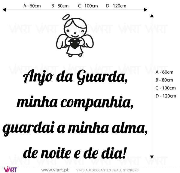 Viart Wall Stickers - Oração Anjo da Guarda... - measures