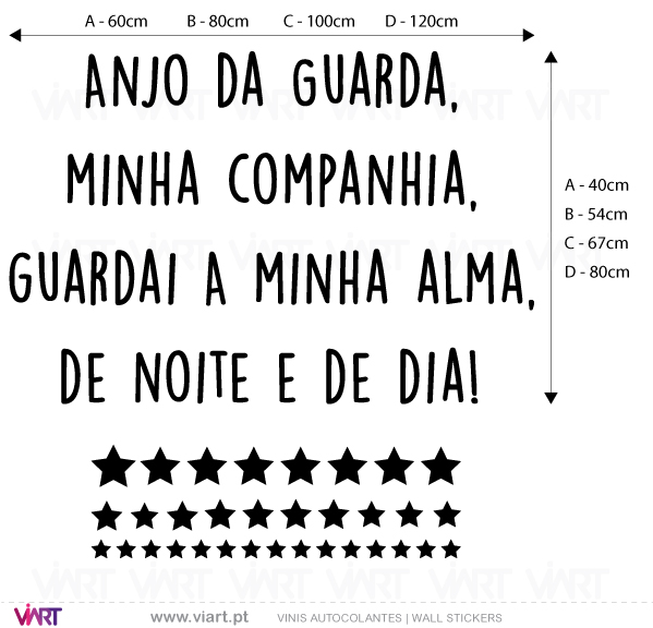 Viart Wall Stickers - Oração Santo Anjo do Senhor... Version 2  - measures