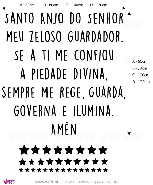 Viart Wall Stickers - Oração Santo Anjo do Senhor... Versão 2 - measures