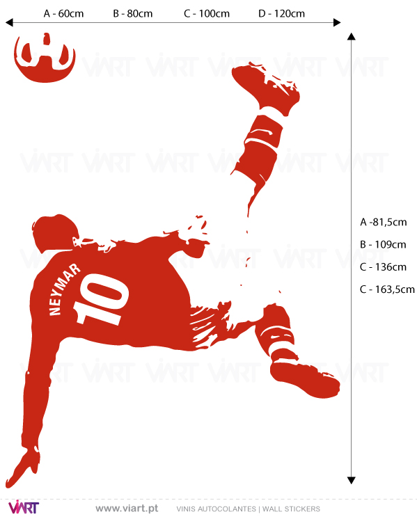 Viart Wall Stickers - Football player with personalizable shirt.- measures