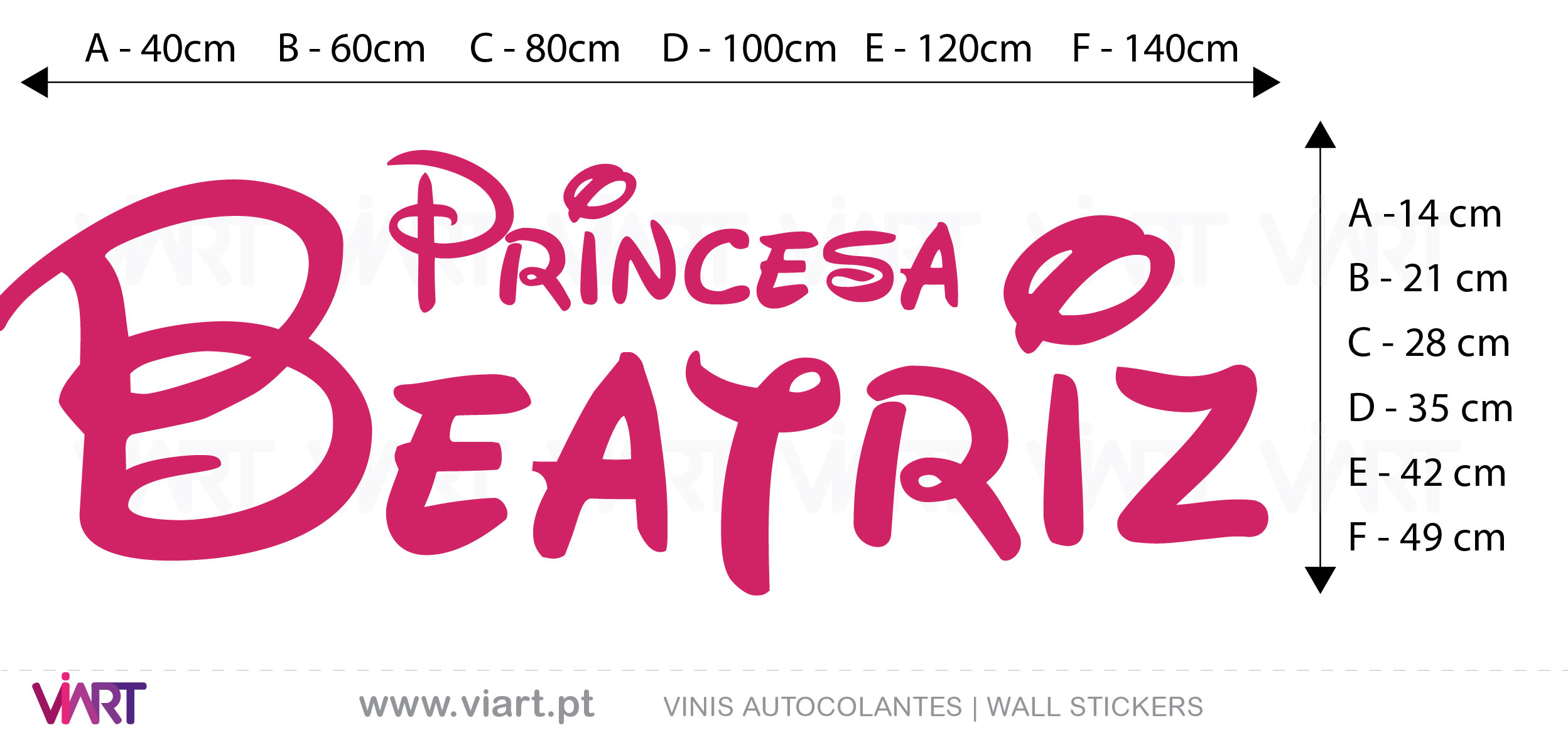 Viart Wall Stickers - Customizable Princess Name- measures