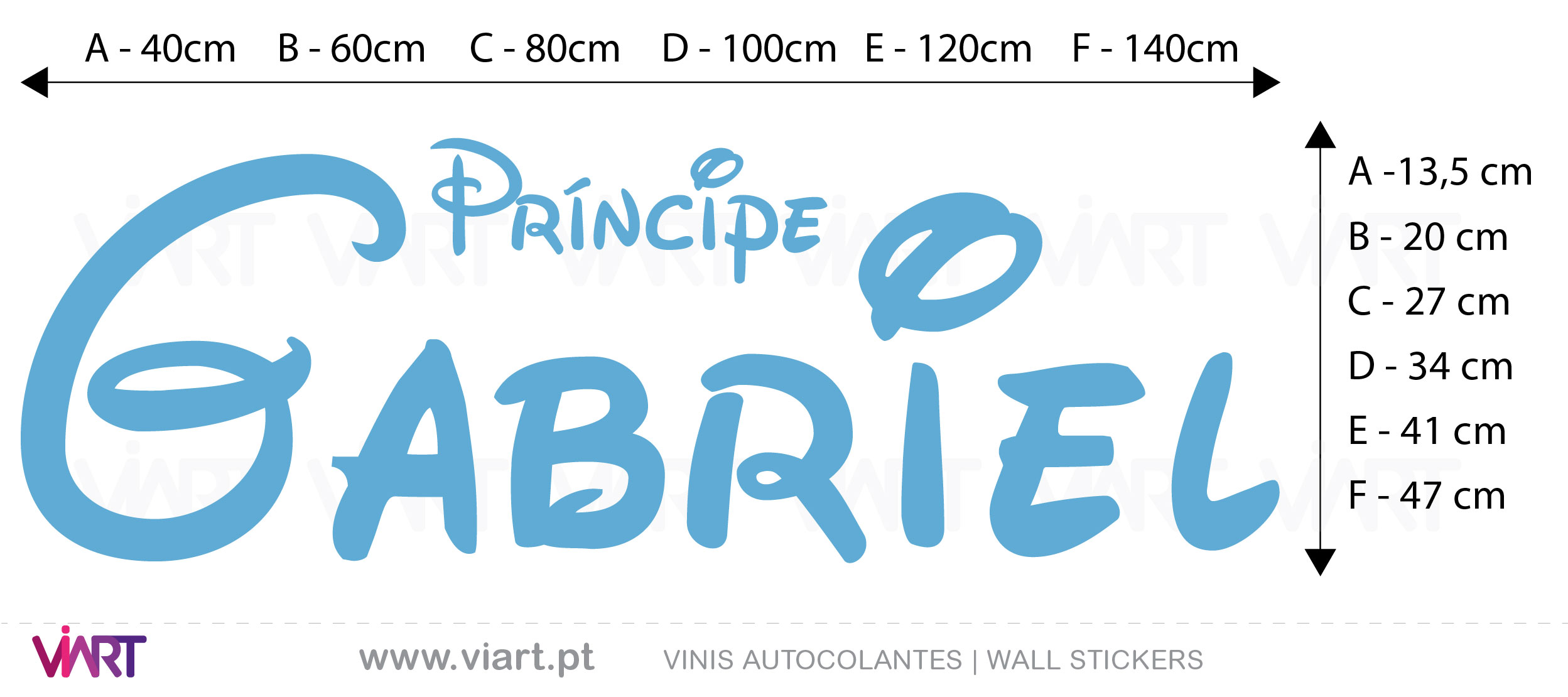 Viart Wall Stickers - Customizable Prince Name- measures