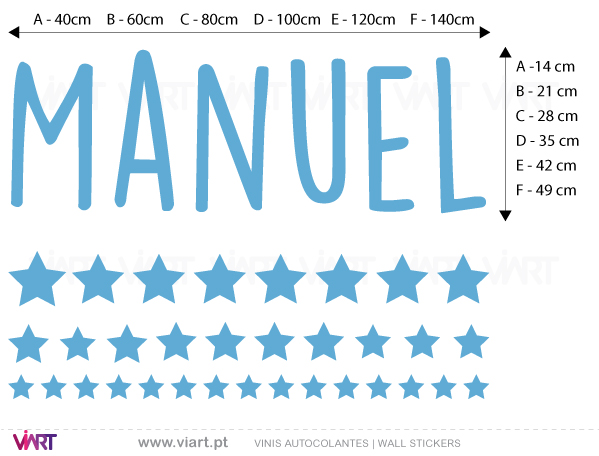 Viart Wall Stickers - Customizable Boy Name- measures