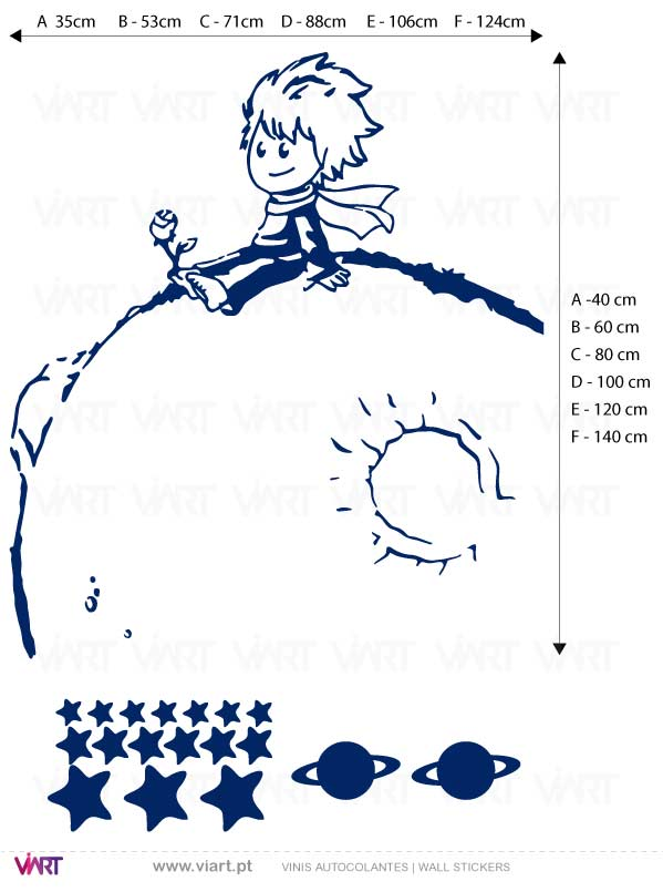 Viart - Wall Sticker - Decals - The Little Prince on the planet! Measures