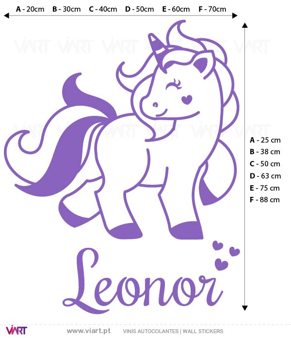 Viart - Wall Sticker - Decals - Heart Unicorn with name! Measures