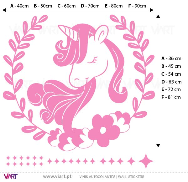Viart - Wall Sticker - Decals - Floral Unicorn! Measures