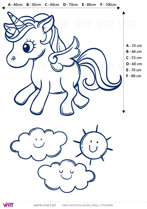 Viart - Wall Sticker - Decals - Unicorn with wings! Measures
