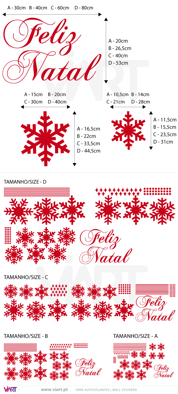 "Viart Wall Stickers - Snow flakes and ""Feliz Natal"" - measures"