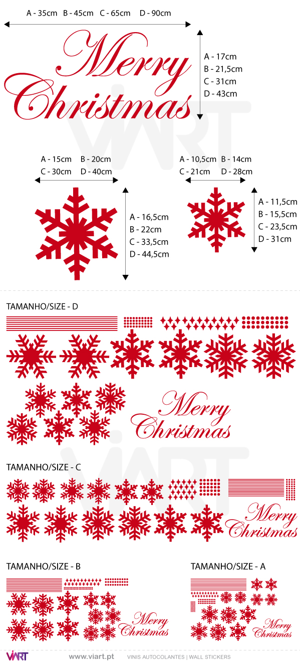 "Viart Wall Stickers - Snow flakes and ""Merry Christmas"" - measures"