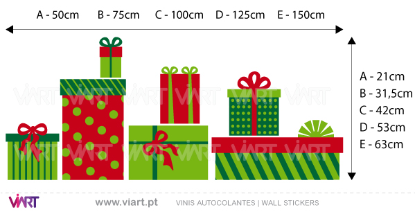 Viart Wall Stickers - Christmas presents - measures