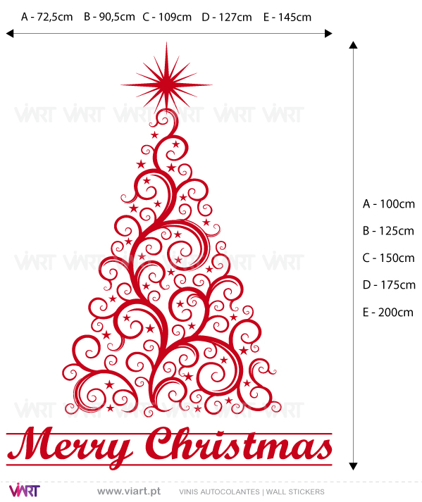 "Viart Wall Stickers - Christmas tree ""Delicate"" - measures"