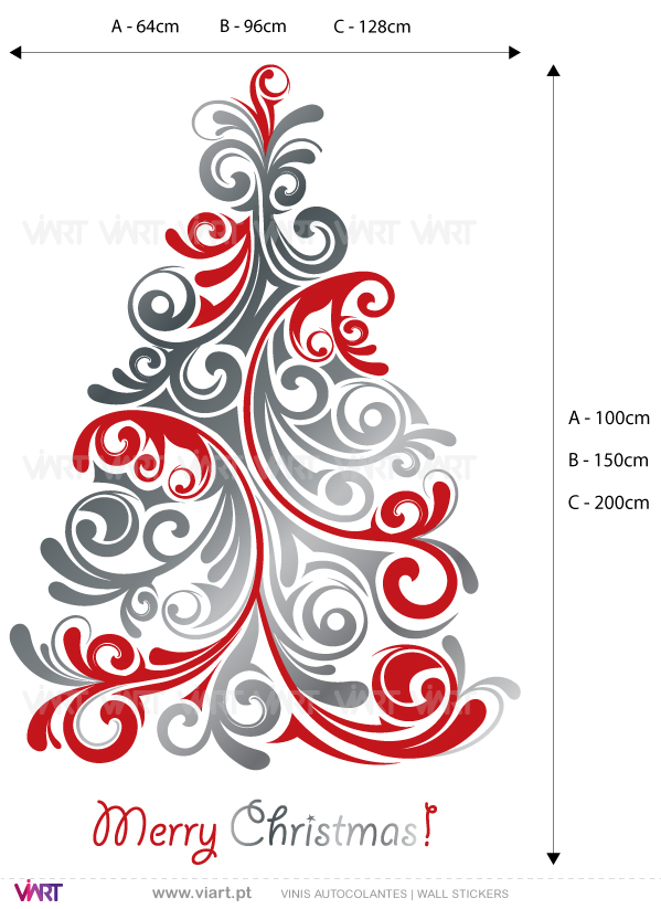 "Viart Wall Stickers - Christmas tree ""Floral"" - measures"
