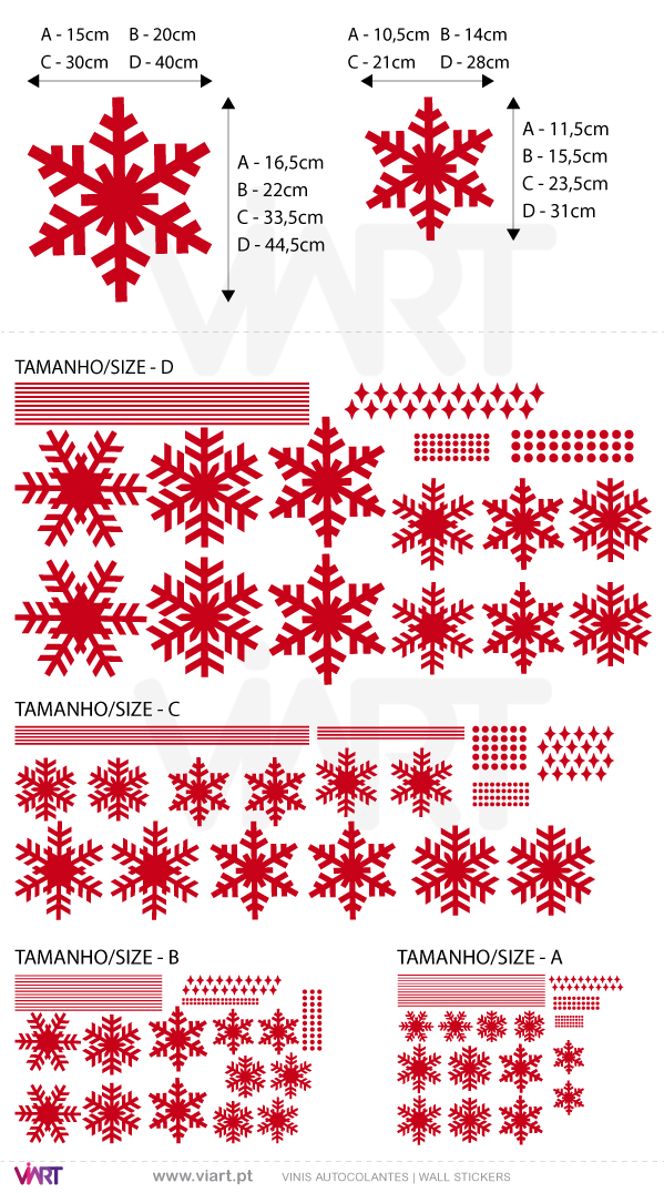 Viart Wall Stickers - Set of 12 snowflakes - measures
